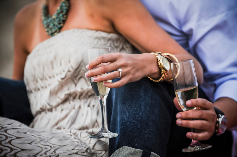 Miami champagne marriage proposal